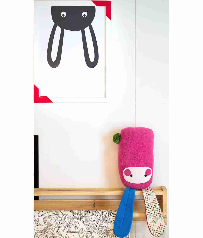Pink stuffed rabbit nursery toy