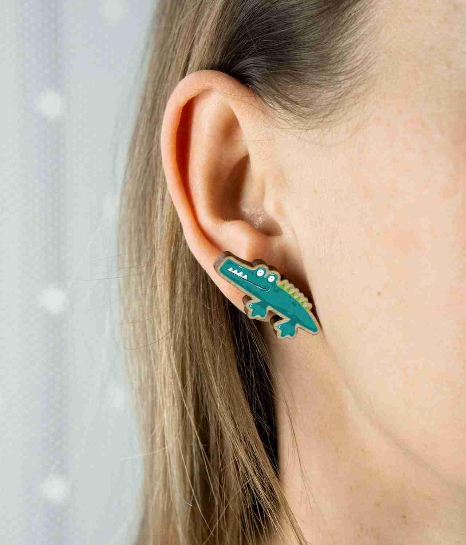 Alligator stud earrings