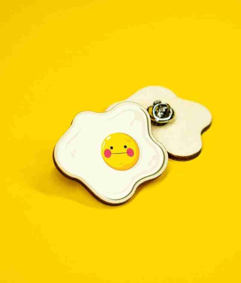 funny egg pin badge